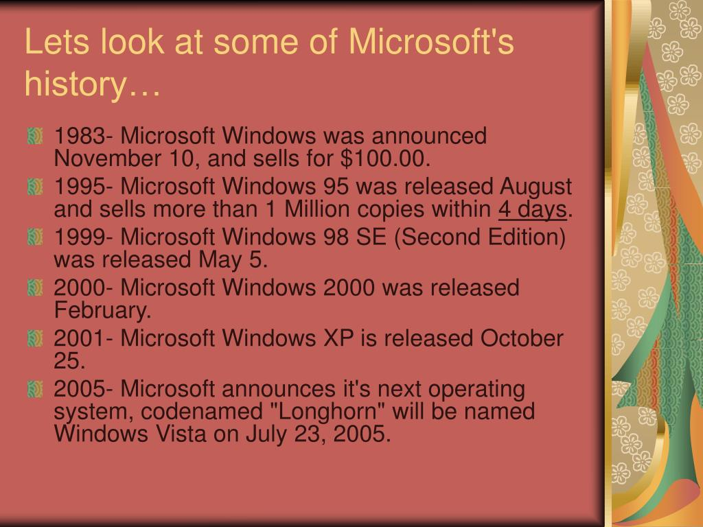 Lets look at some of Microsoft's history…
