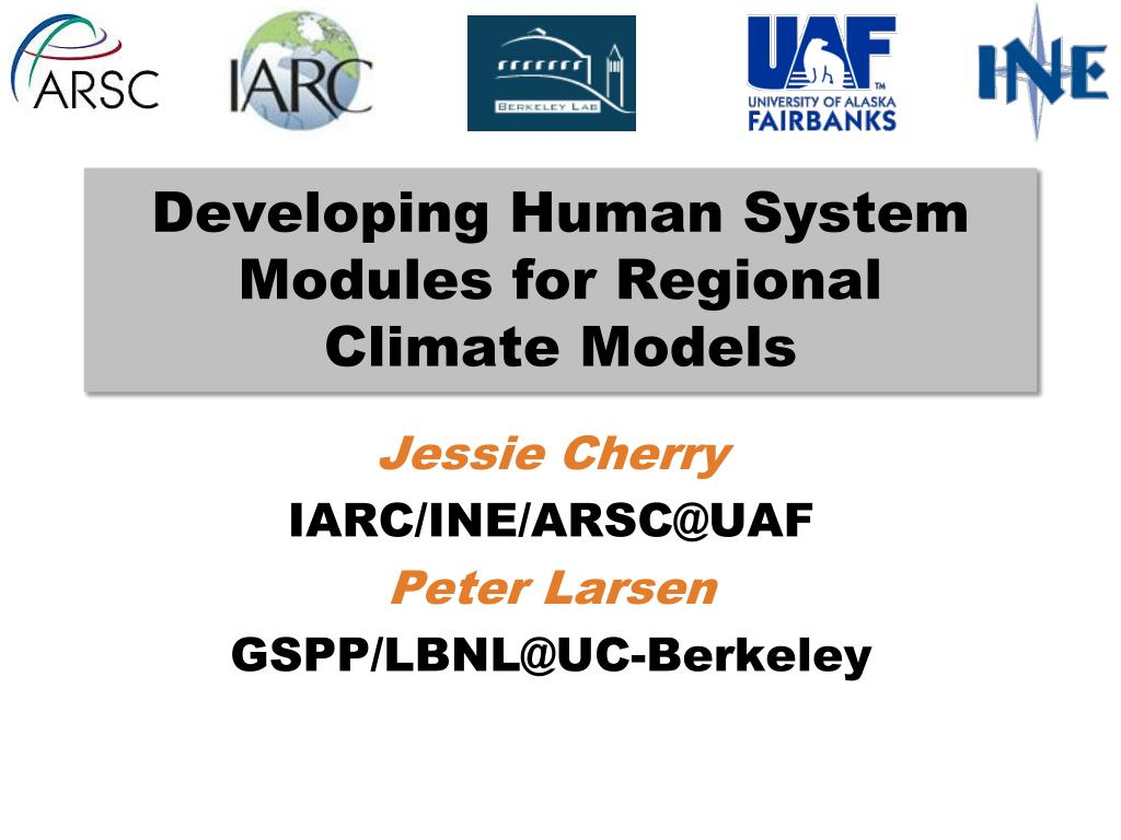 developing human system modules for regional climate models l.