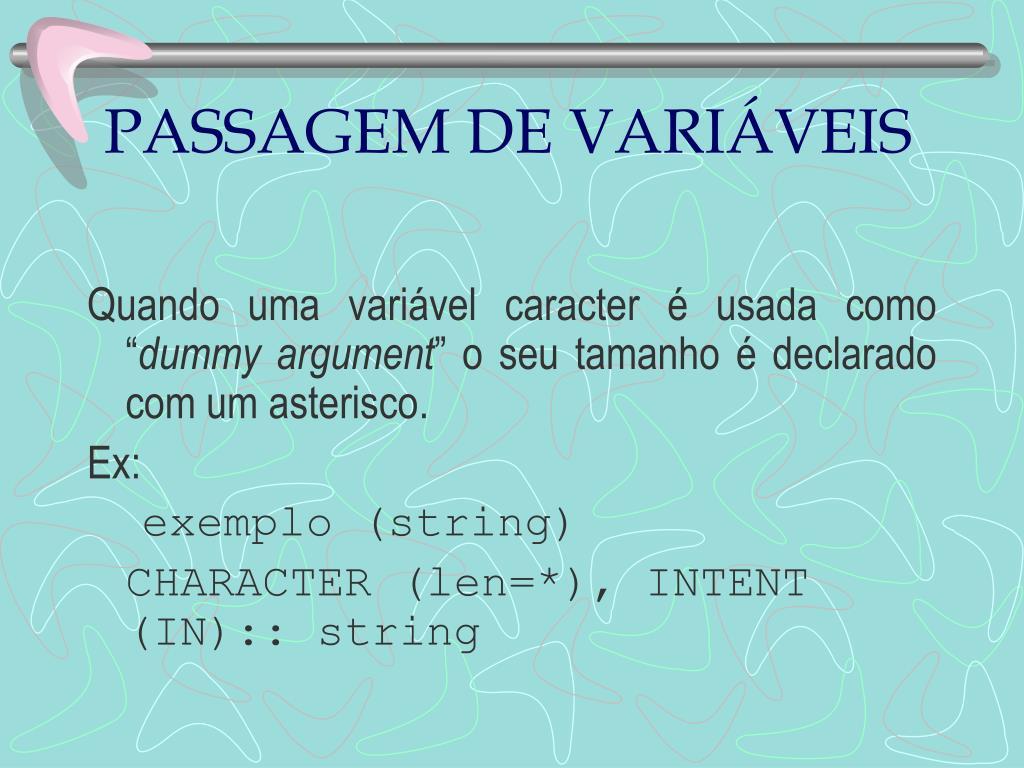 PASSAGEM DE VARIÁVEIS