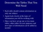 determine the tables that you will need