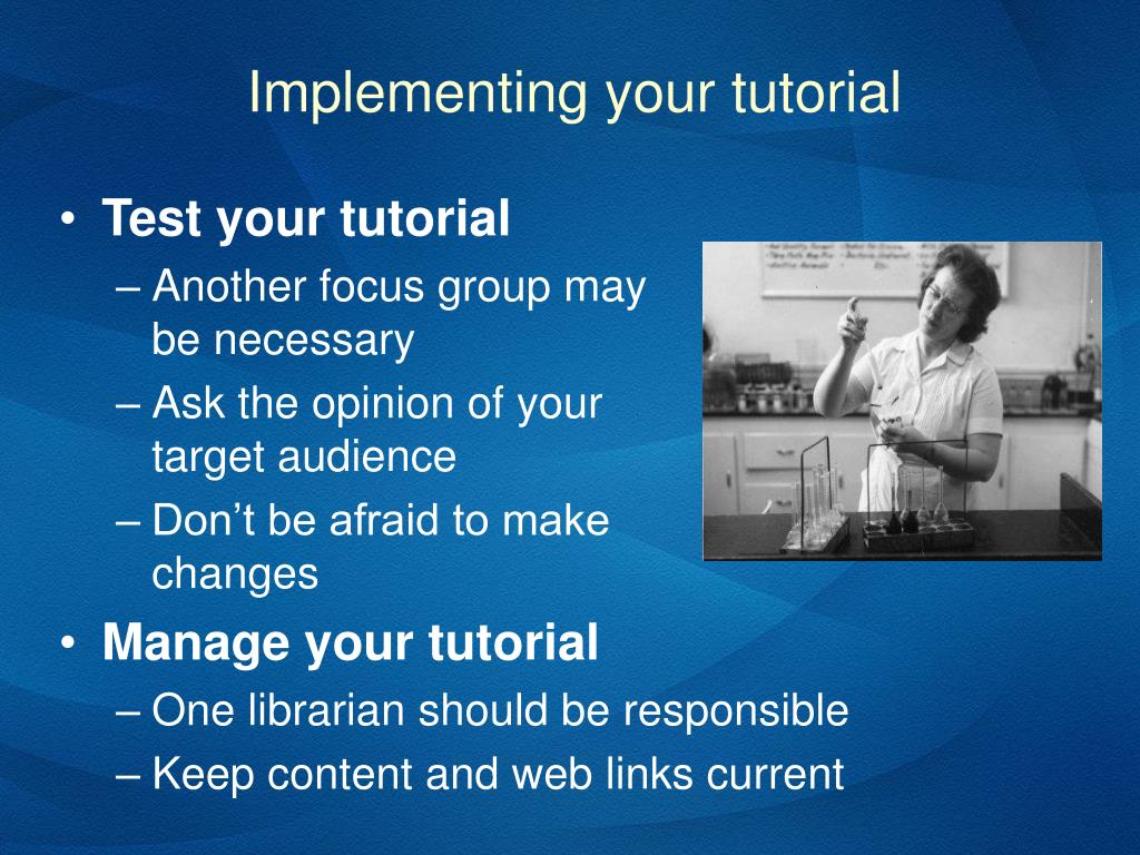 Implementing your tutorial