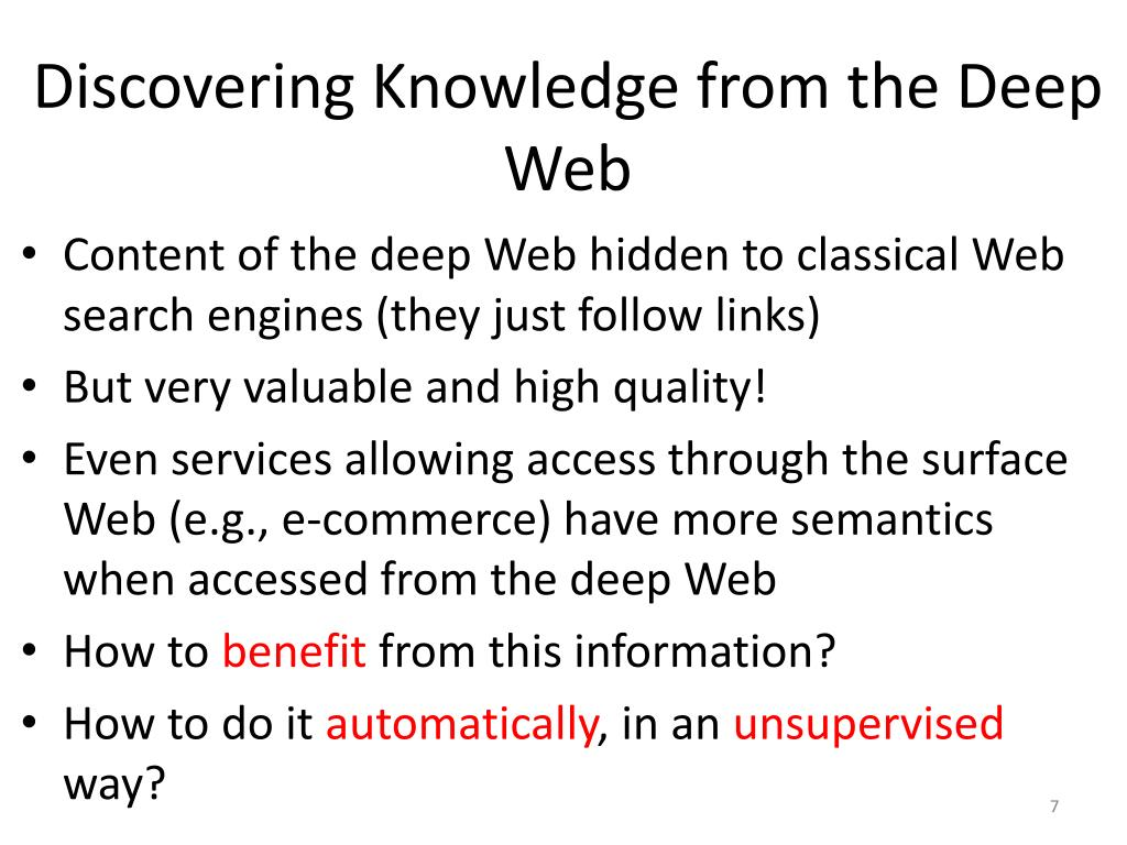 Discovering Knowledge from the Deep Web