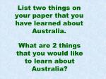 list two things on your paper that you have learned about australia