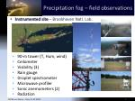 precipitation fog field observations