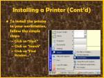 installing a printer cont d