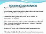 principles of lodge budgeting