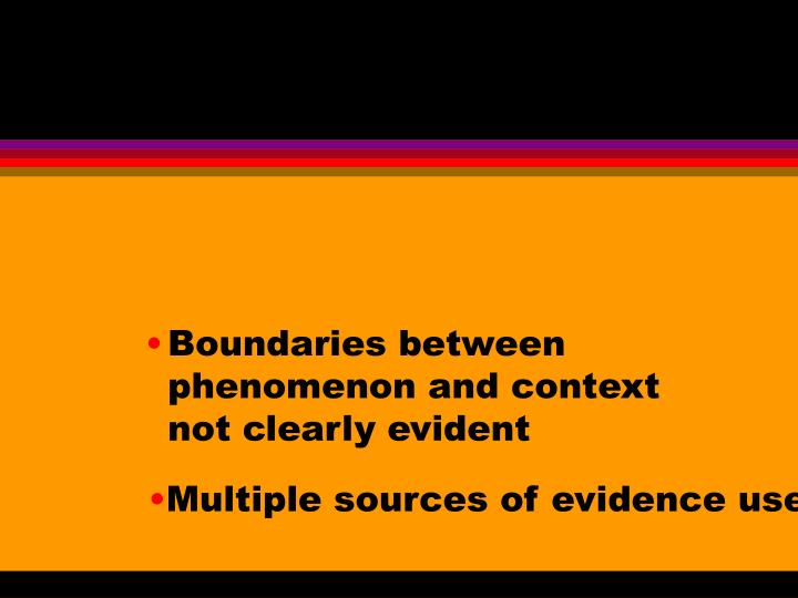 Boundaries between phenomenon and context not clearly evident