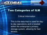 two categories of ilm