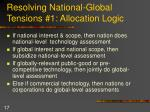 resolving national global tensions 1 allocation logic