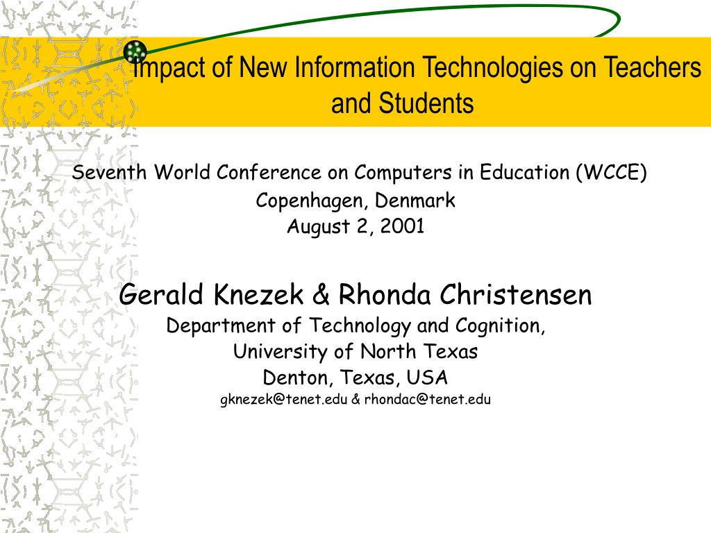 impact of new information technologies on teachers and students l.