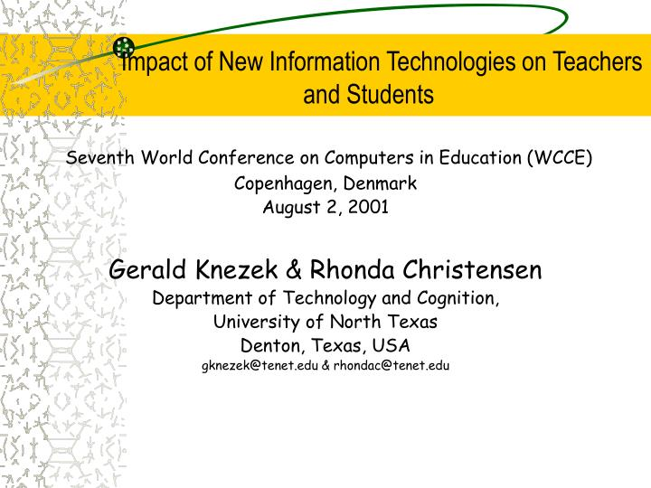 impact of new information technologies on teachers and students n.