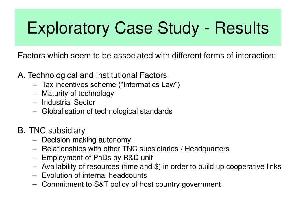 Exploratory Case Study - Results