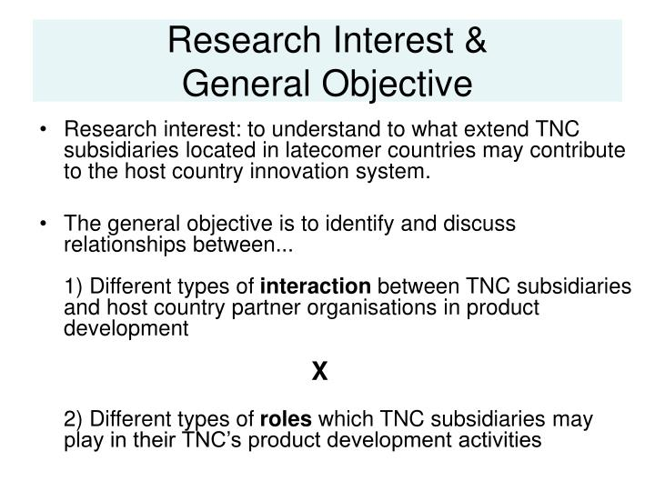 Research interest general objective