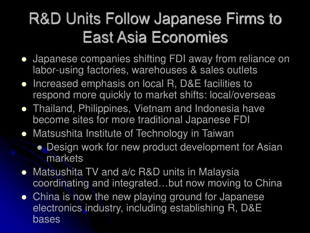 R&D Units Follow Japanese Firms to East Asia Economies