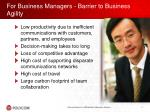 for business managers barrier to business agility