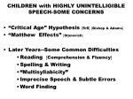 children with highly unintelligible speech some concerns