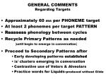 general comments regarding targets
