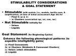stimulability considerations goal statement