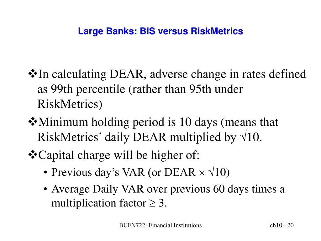Large Banks: BIS versus RiskMetrics