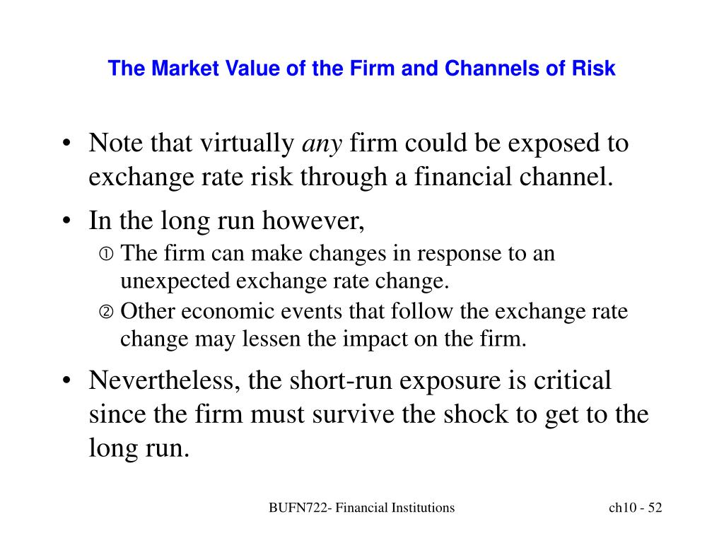 The Market Value of the Firm and Channels of Risk