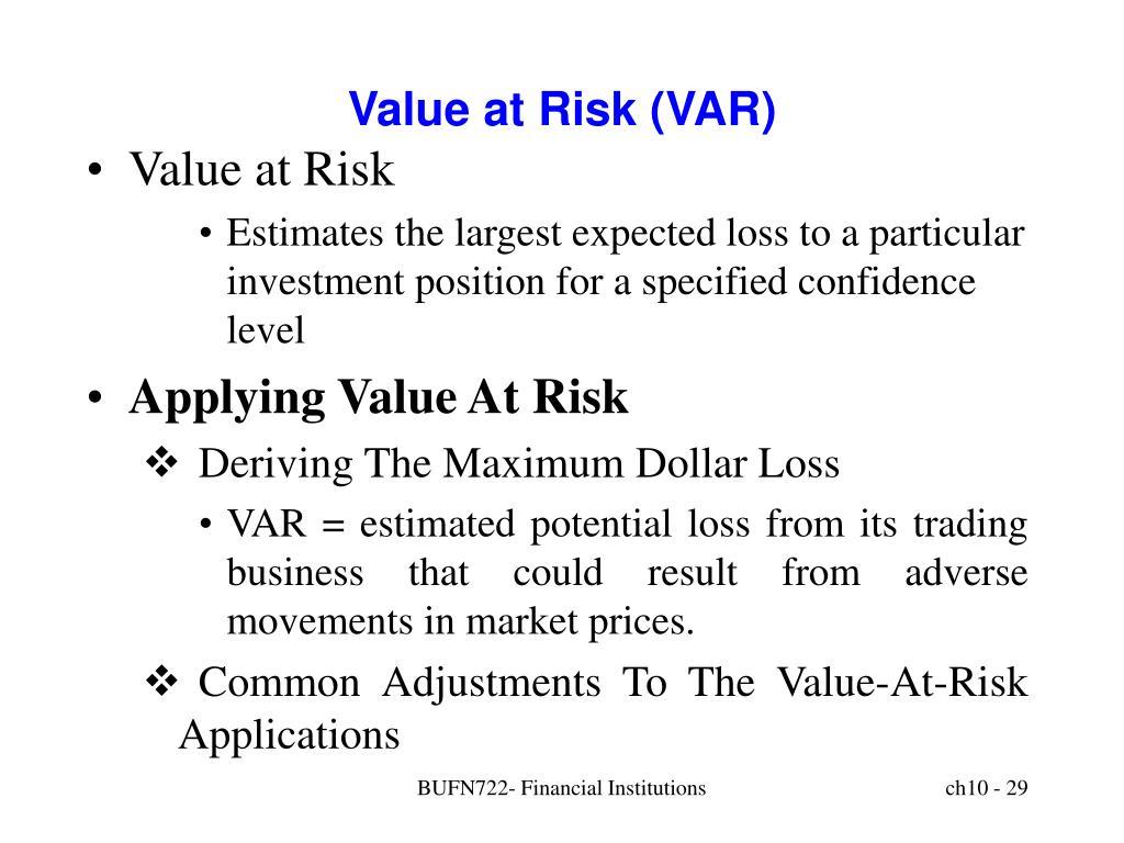 Value at Risk (VAR)