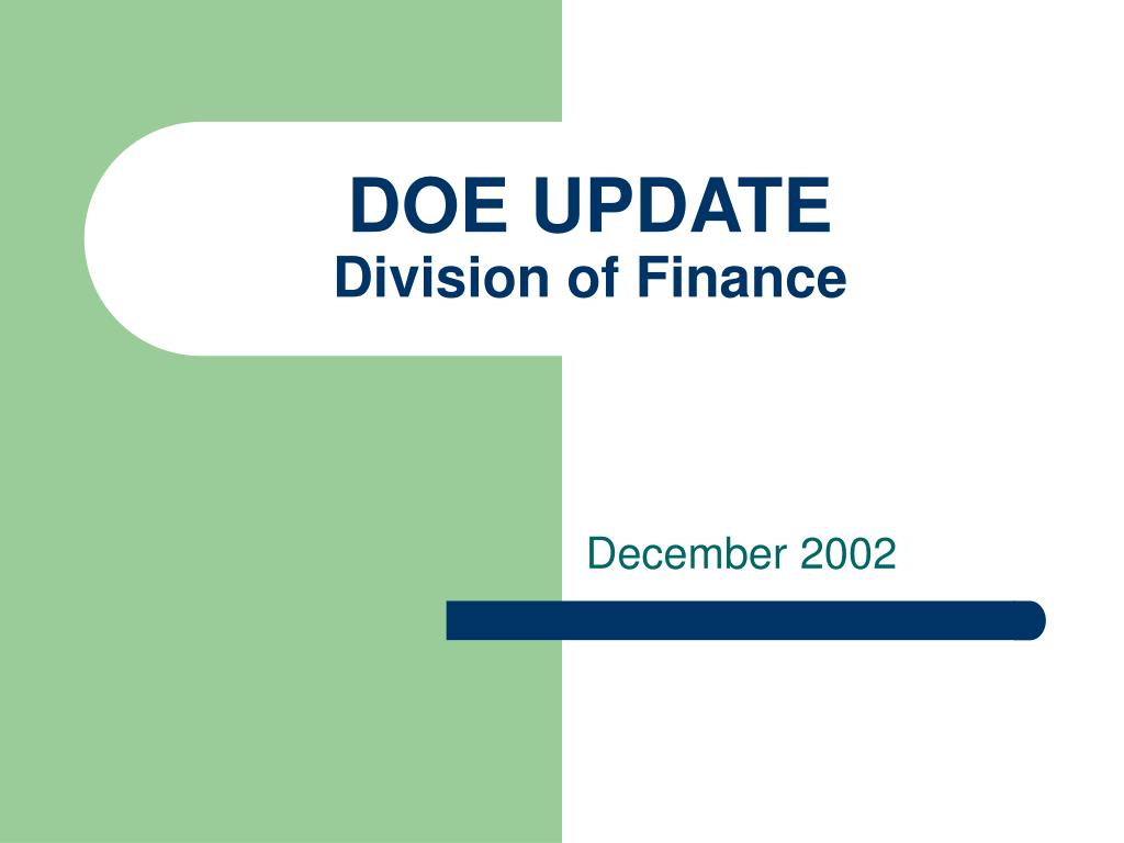 doe update division of finance l.