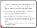 current exchange rate arrangements