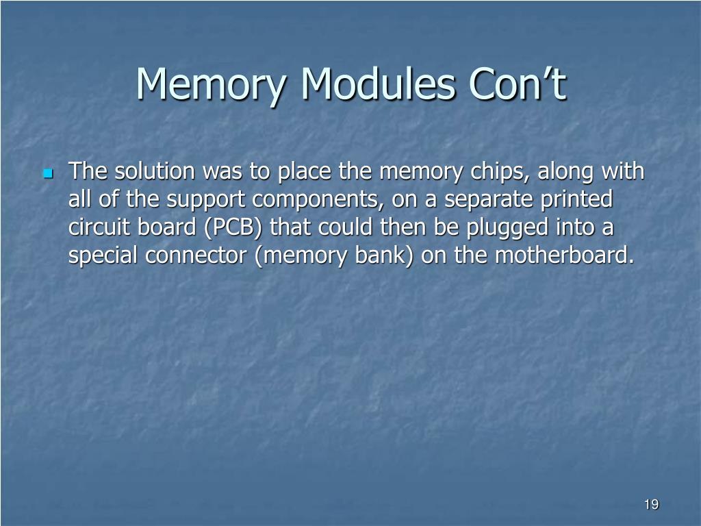 Memory Modules Con't