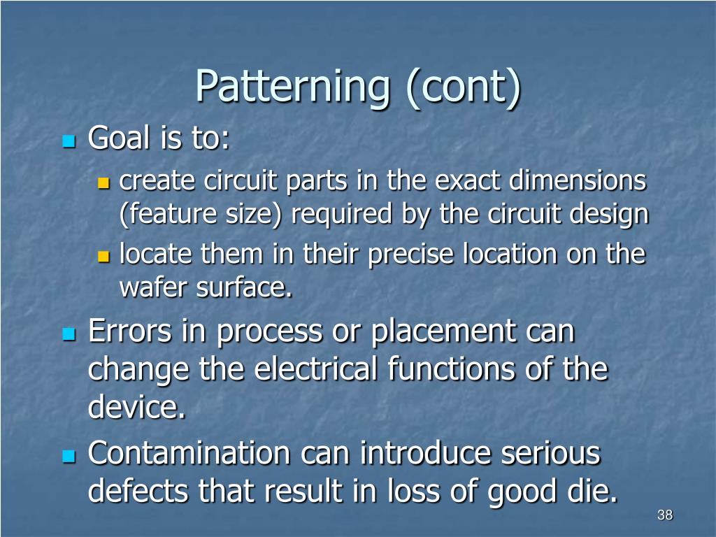 Patterning (cont)