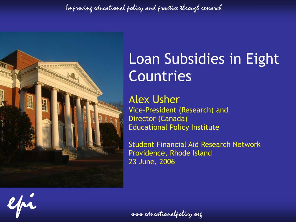Loan Subsidies in Eight Countries