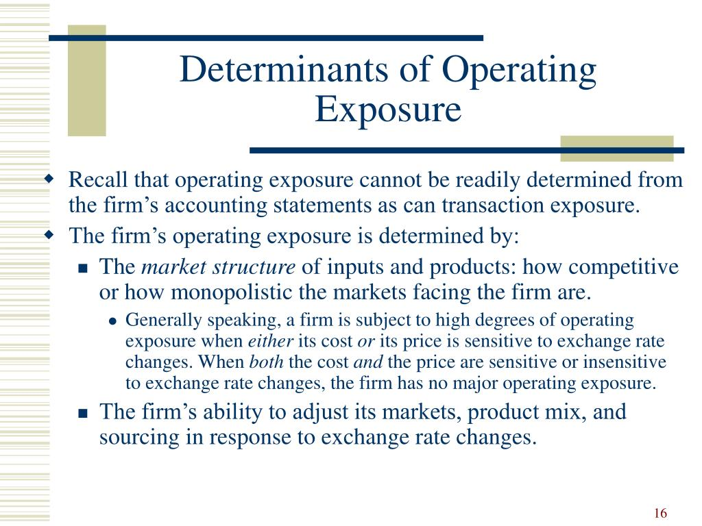 Determinants of Operating Exposure