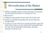 diversification of the market