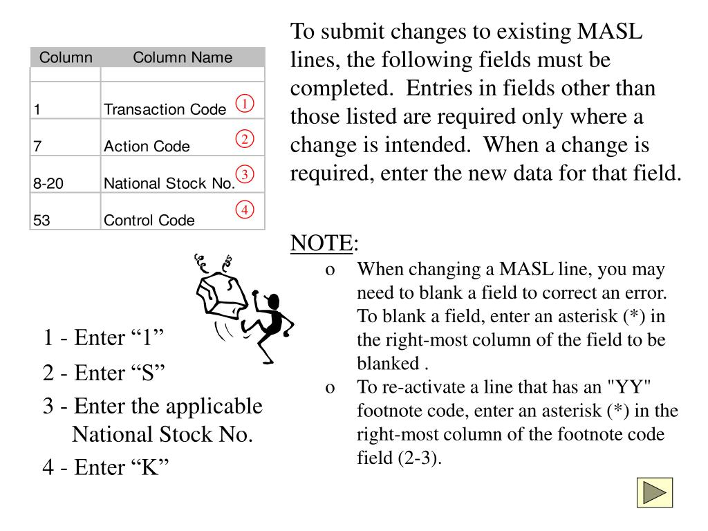 To submit changes to existing MASL lines, the following fields must be completed.  Entries in fields other than those listed are required only where a change is intended.  When a change is required, enter the new data for that field.