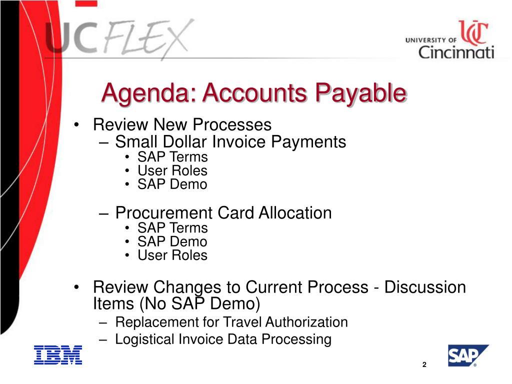Agenda: Accounts Payable