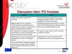 discussion item po invoices