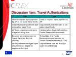 discussion item travel authorizations