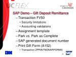 sap demo gift deposit remittance