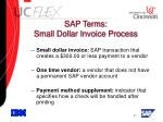 sap terms small dollar invoice process