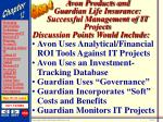 avon products and guardian life insurance successful management of it projects67