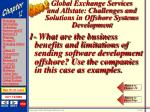 global exchange services and allstate challenges and solutions in offshore systems development