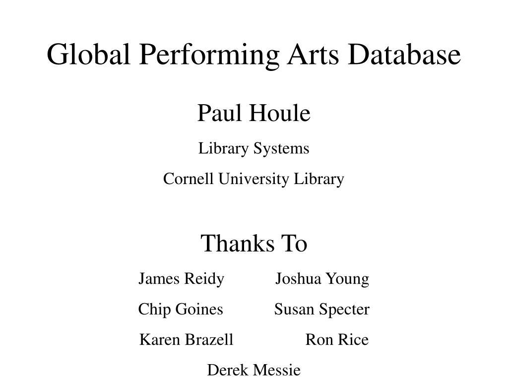 global performing arts database l.