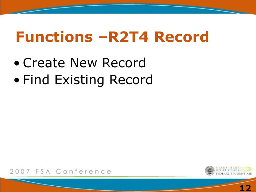 Functions –R2T4 Record