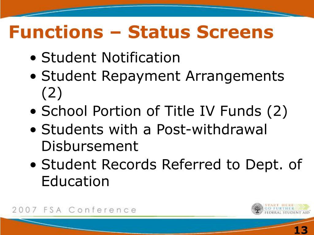 Functions – Status Screens