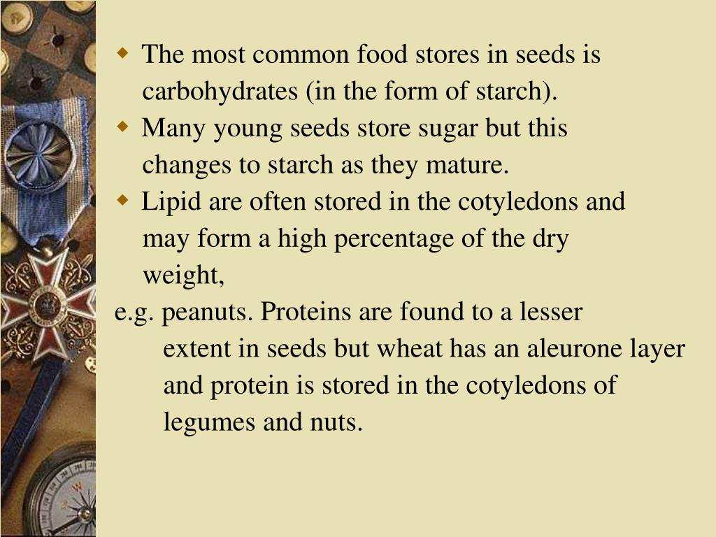 The most common food stores in seeds is