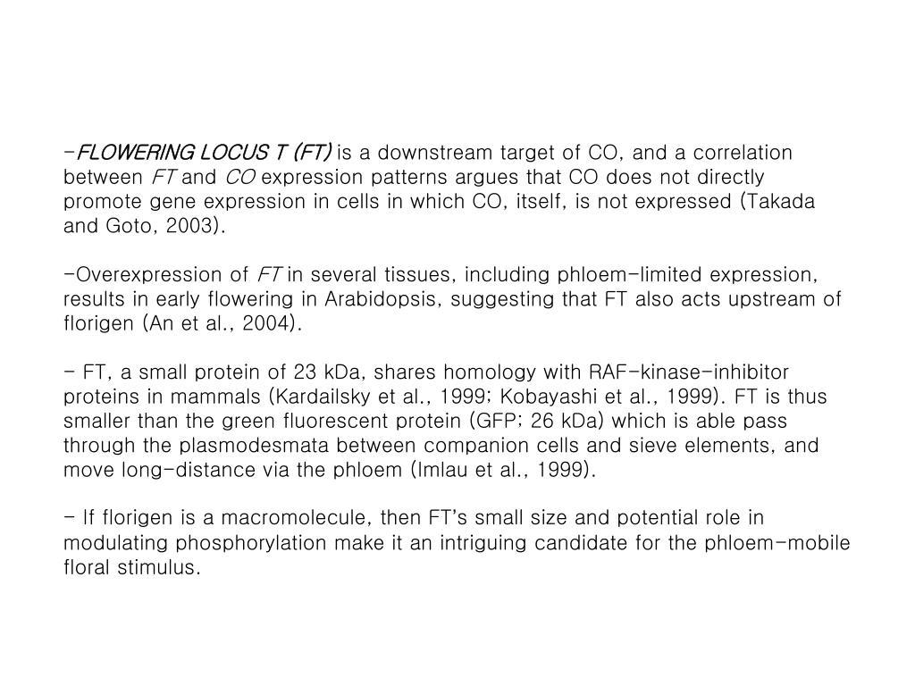 FLOWERING LOCUS T (FT)