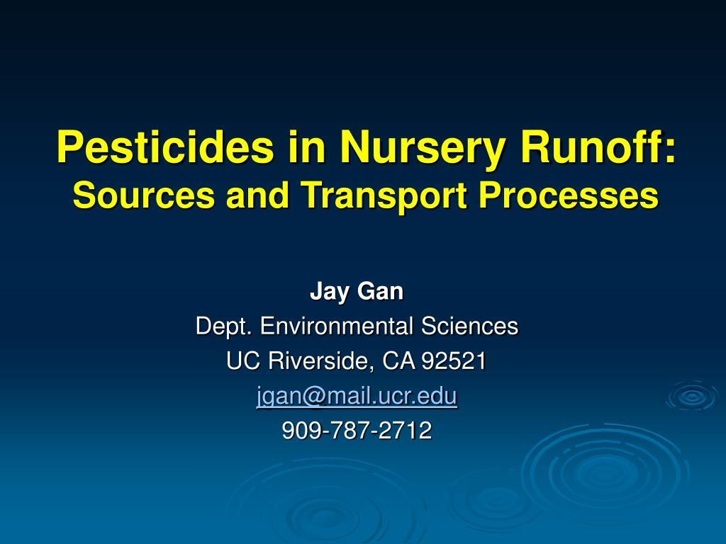 pesticides in nursery runoff sources and transport processes l.