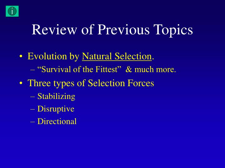 Review of Previous Topics
