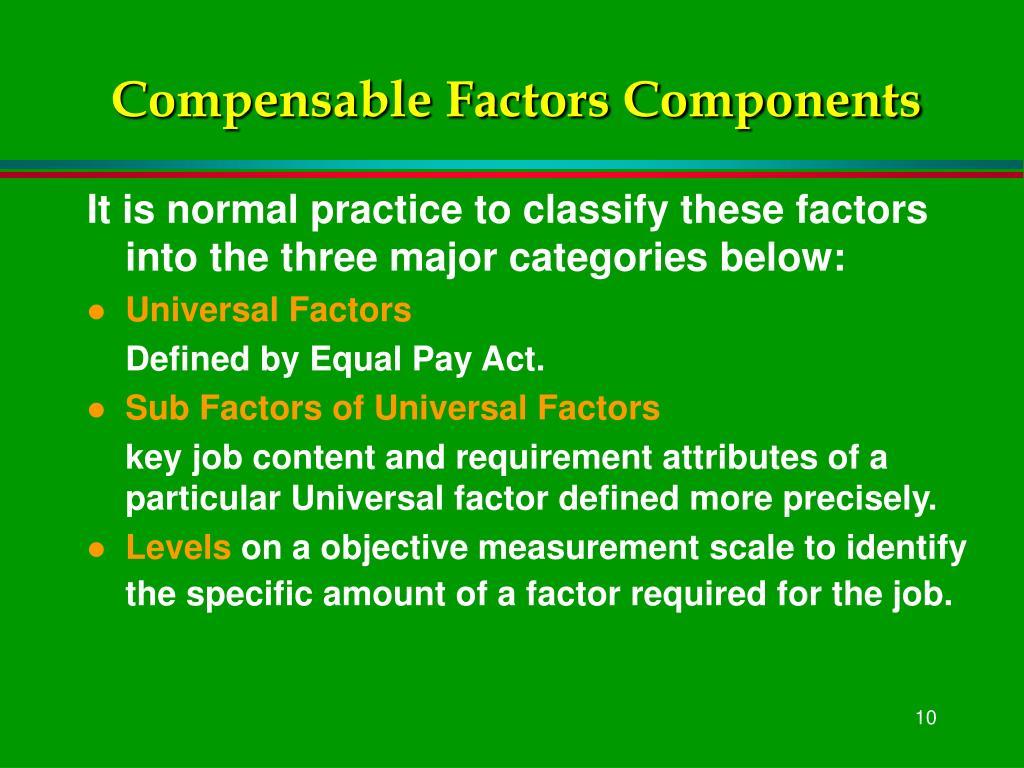 Compensable Factors Components