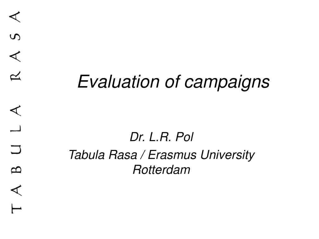 evaluation of campaigns l.