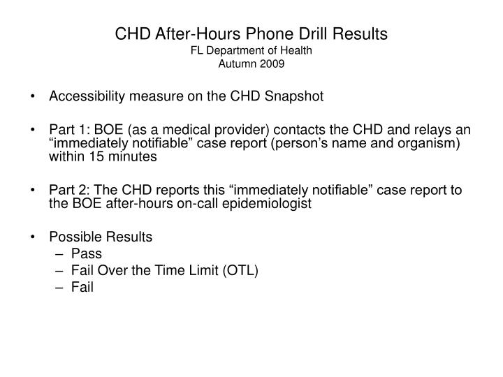 chd after hours phone drill results fl department of health autumn 2009 n.